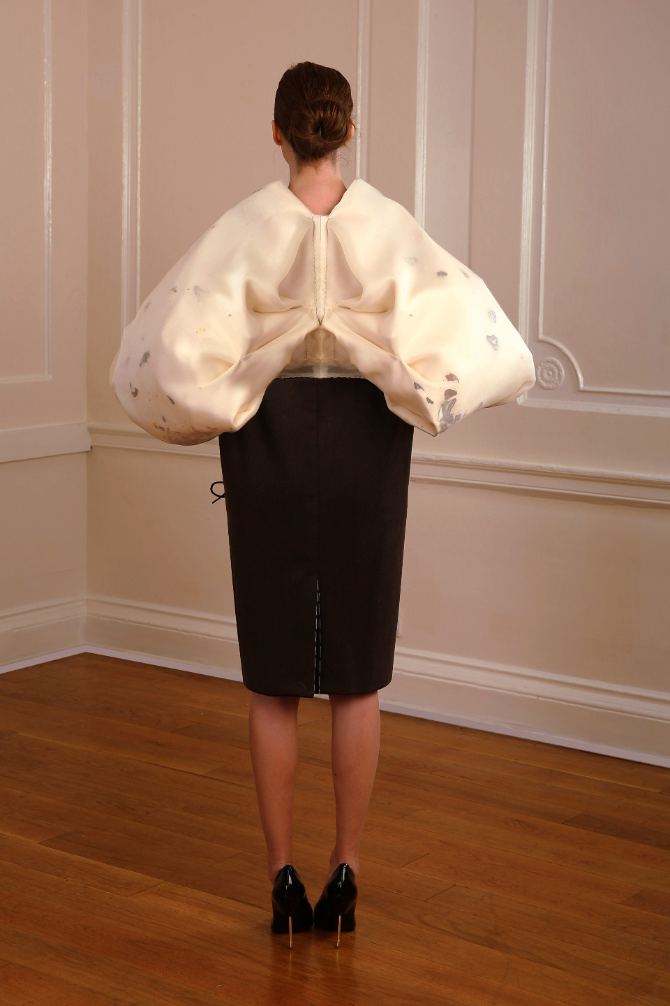 white and brown cashmere coat with butterflies, couture coat, couturier london