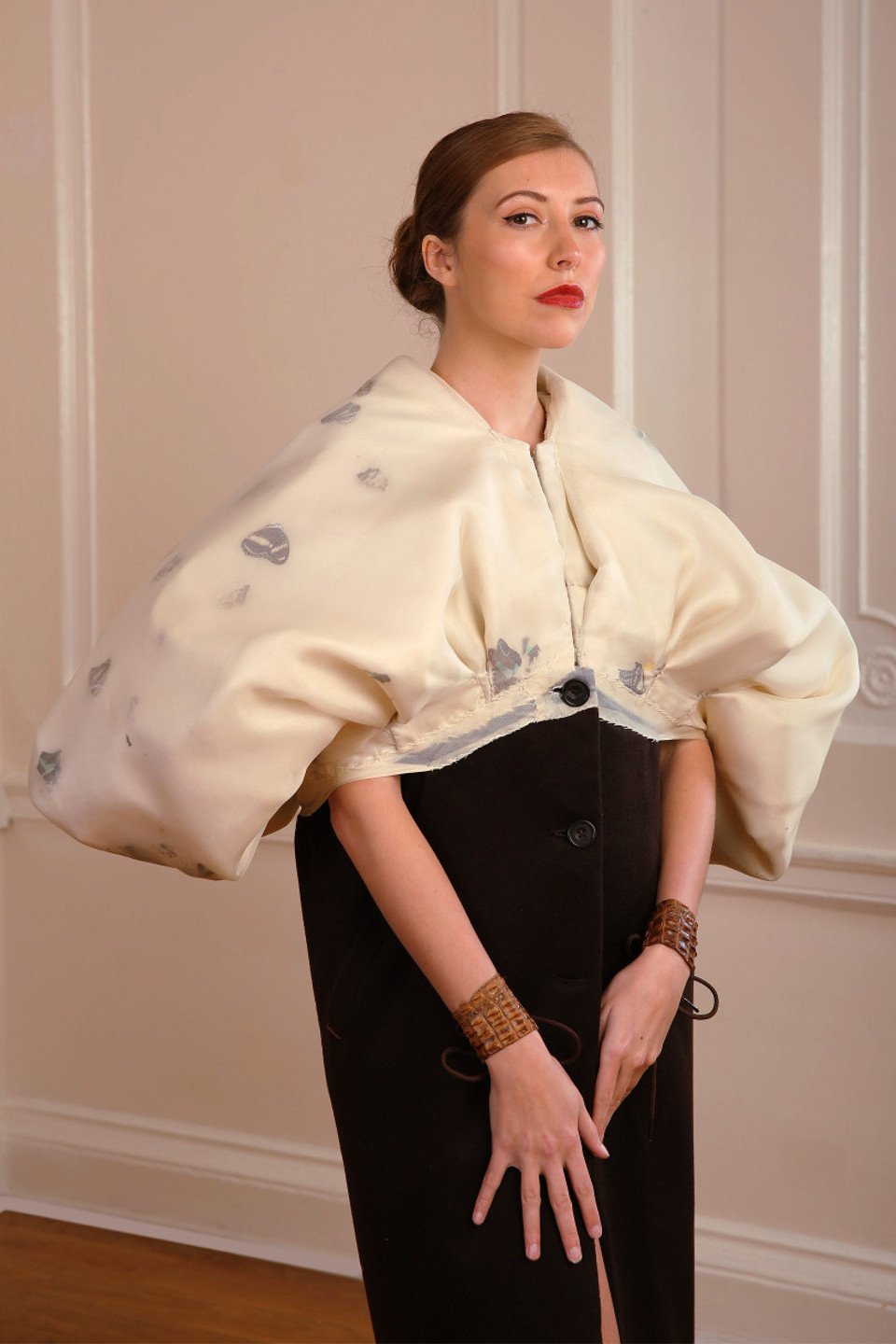 white baloon brown cashmere coat with butterflies, couture coat, couturier london
