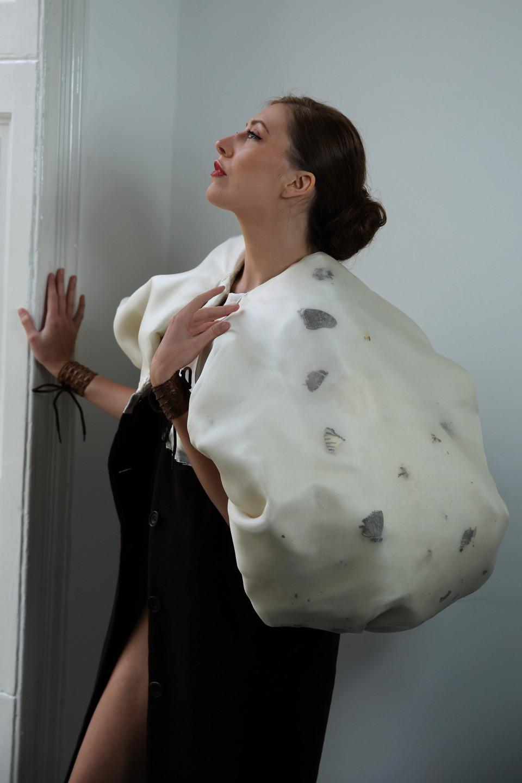 elegant outwear brown cashmere coat with butterflies, couture coat, couturier london angelo fair paris