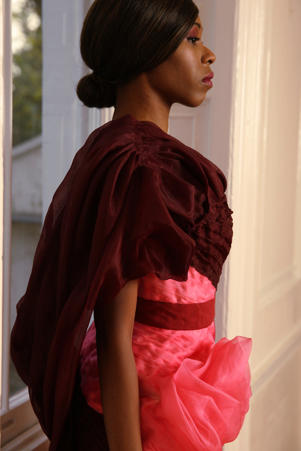 draped couture dress, draped red couture dress london, red dress, dress with flowers/ floral dress, organza dress, silk organza dress/tulle dress, evening wear custom made dress gown, luxury fashion, sculpted dress, pleated dress, hand made dress, black designer London designer