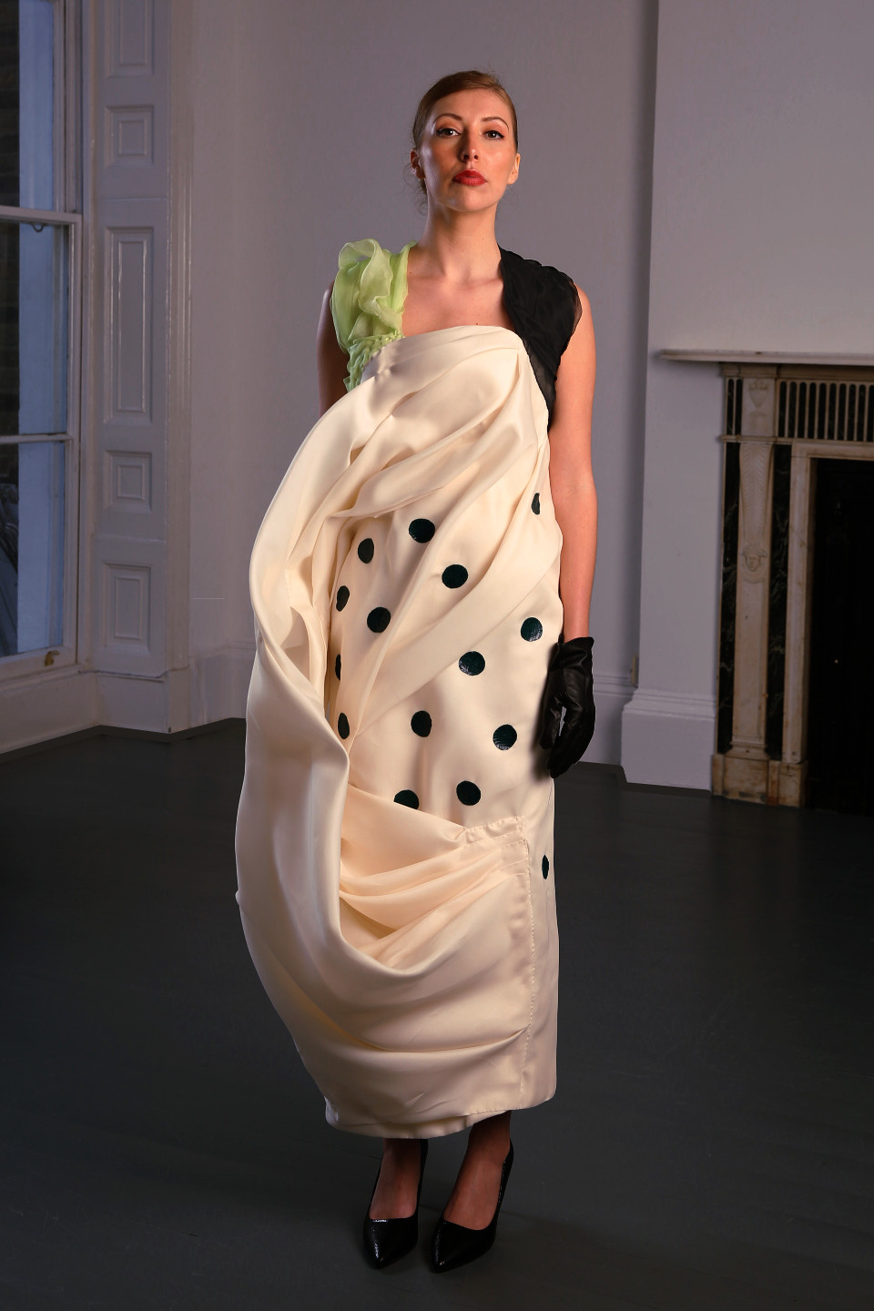 lime green and white silk gazar dress, cowl dress, couture london