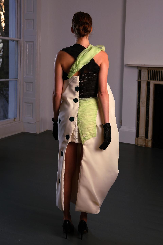 white silk gazar dress, cowl dress, couture london angelo fair