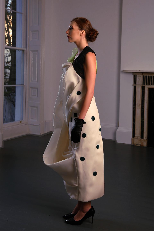white silk gazar dress, cowl dress, full lenght dress