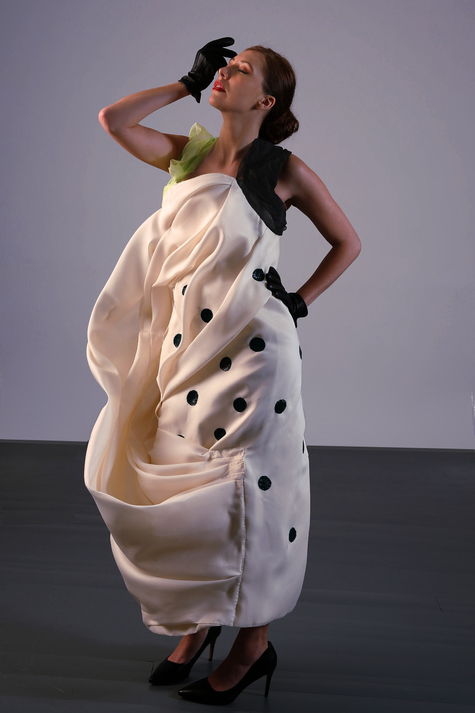 white silk gazar dress, cowl dress, couture london, blown away effect dress couture dress angelo fair