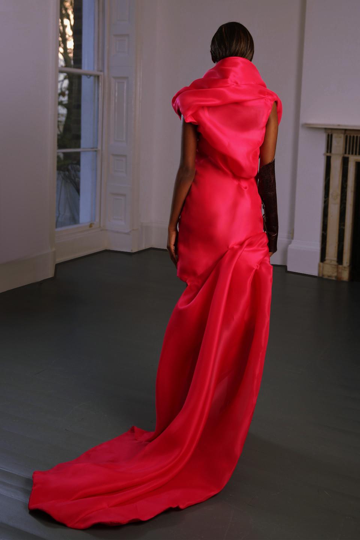 fuschia Dress floor lenght trail flower pedals shape evening wear silk gazar dress Angelo Fair Couture red couture dress draped dress
