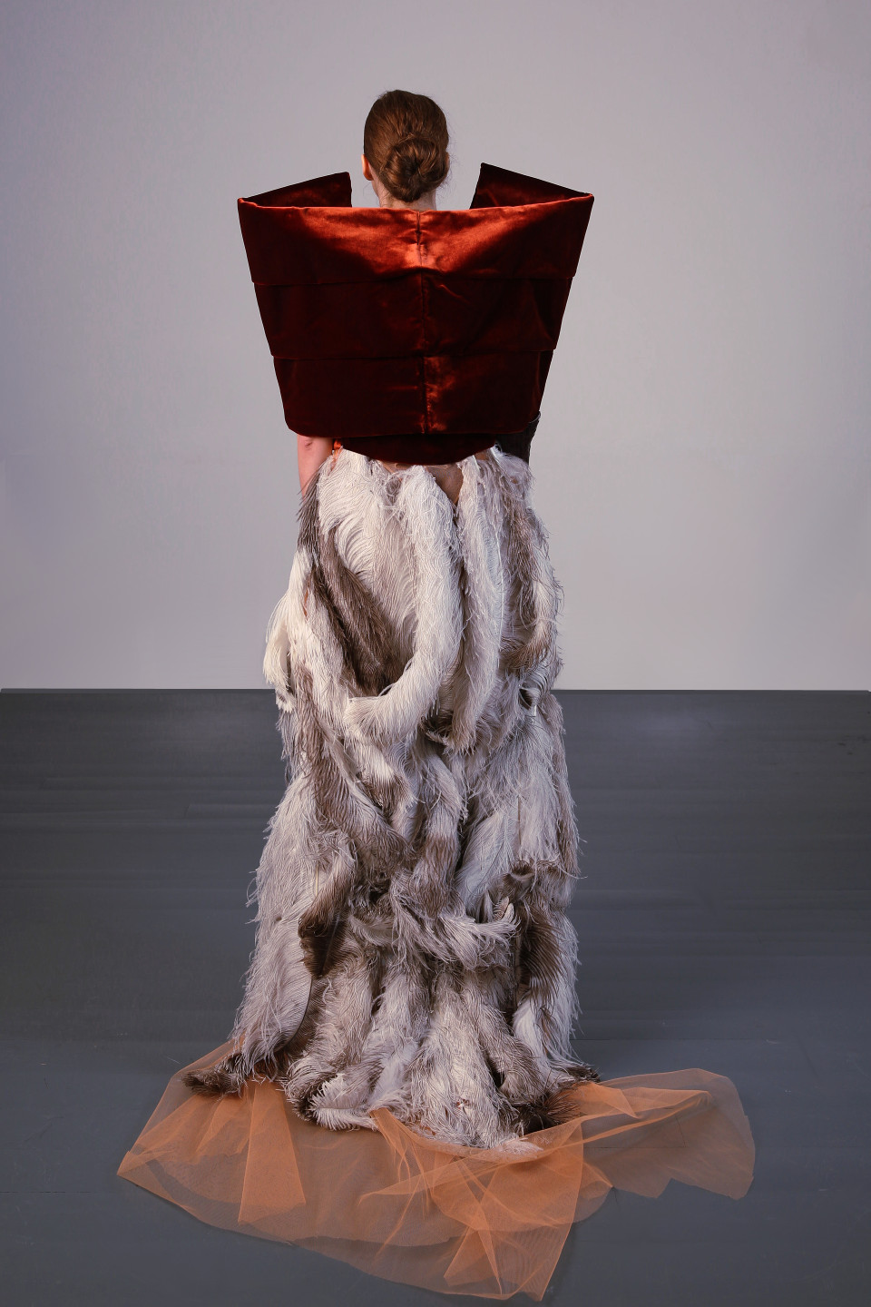 Ostrich Feather Couture Velvet Jacket Tailored Jacket Ostrich Feather Dress Burnt Orange