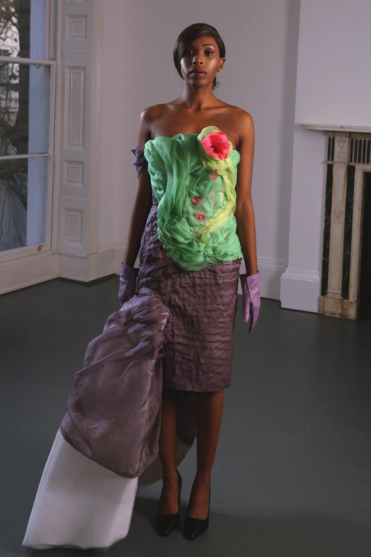 couturier angelo fair london atelier green sculpture draped flower dress