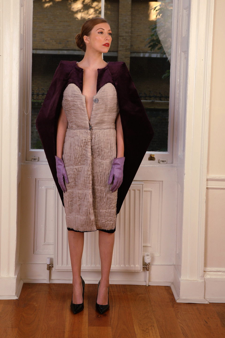 elegant Purple velvet coat, tailored applique pleated dress with glass buttons, hard tailoring coat