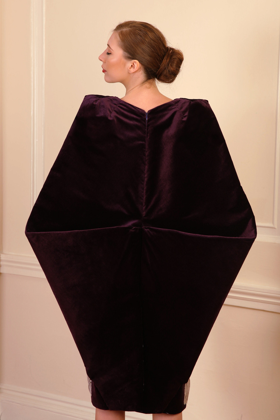 sexy Purple velvet coat, tailored applique pleated dress with glass buttons, hard tailoring coat