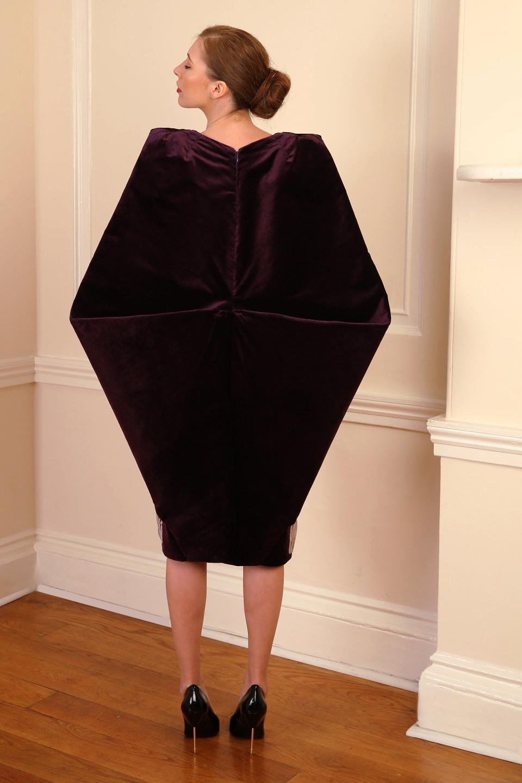 sexy Purple velvet coat, tailored applique pleated dress - kite shaped