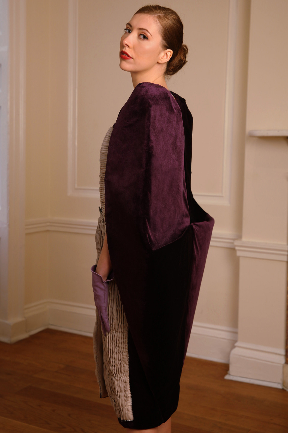 sexy Purple velvet coat, tailored applique pleated dress with glass buttons, hard tailoring couture coat