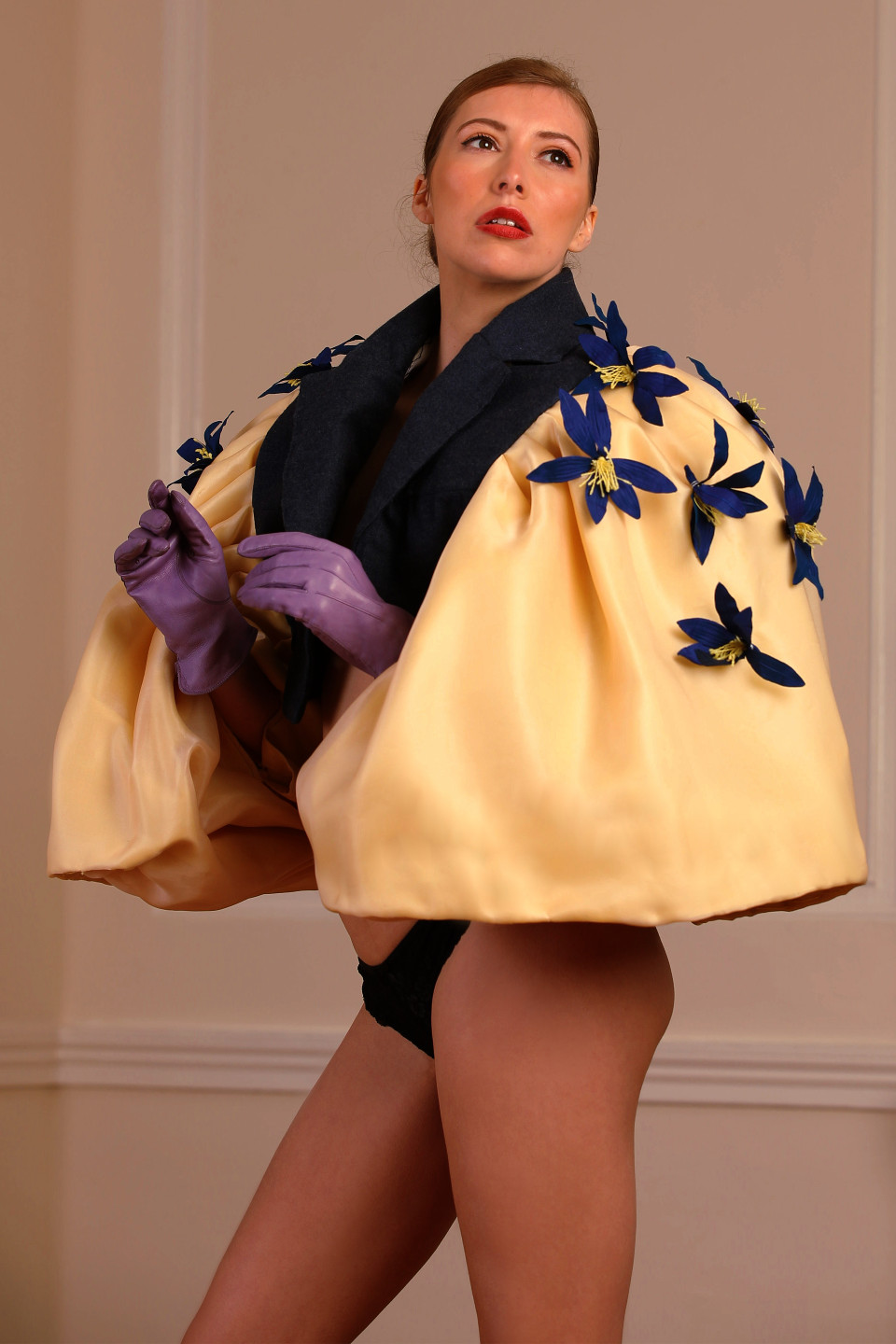 blue lily yellow notch lapel tailored jacket, opera outfit big collar