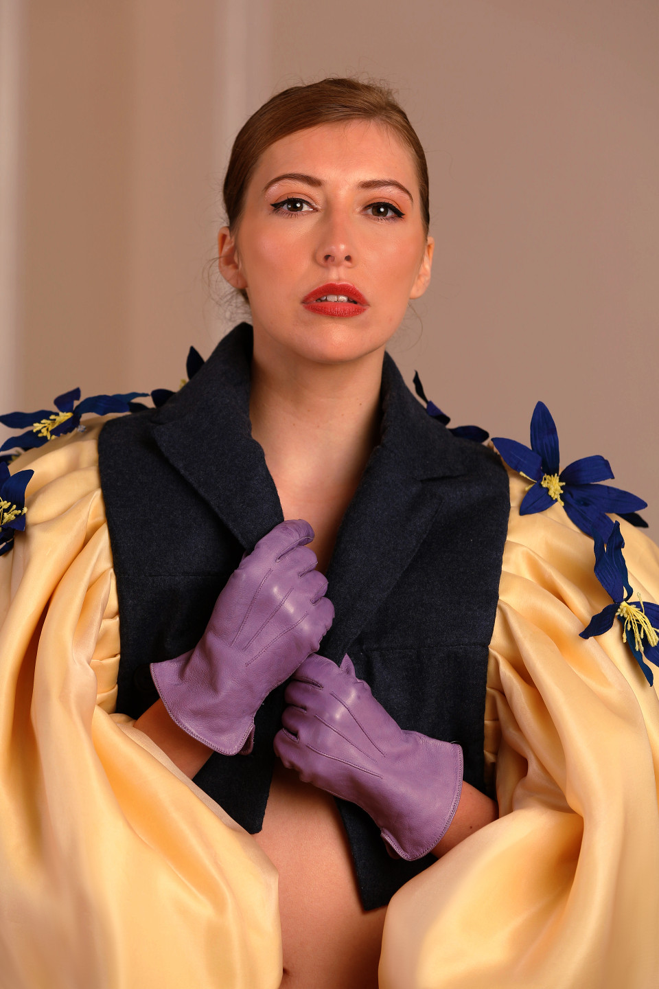 blue lily yellow notch lapel tailored jacket, opera outfit, exposed waist