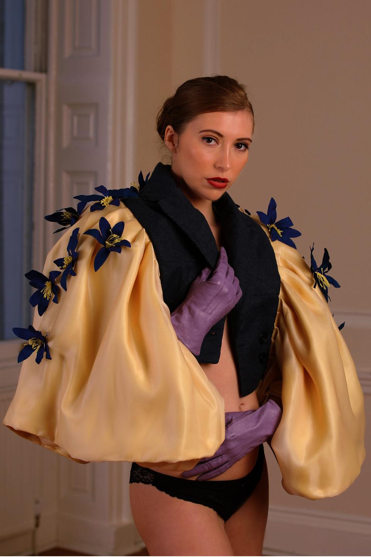 blue lily yellow notch lapel tailored jacket, opera outfit, naked waist