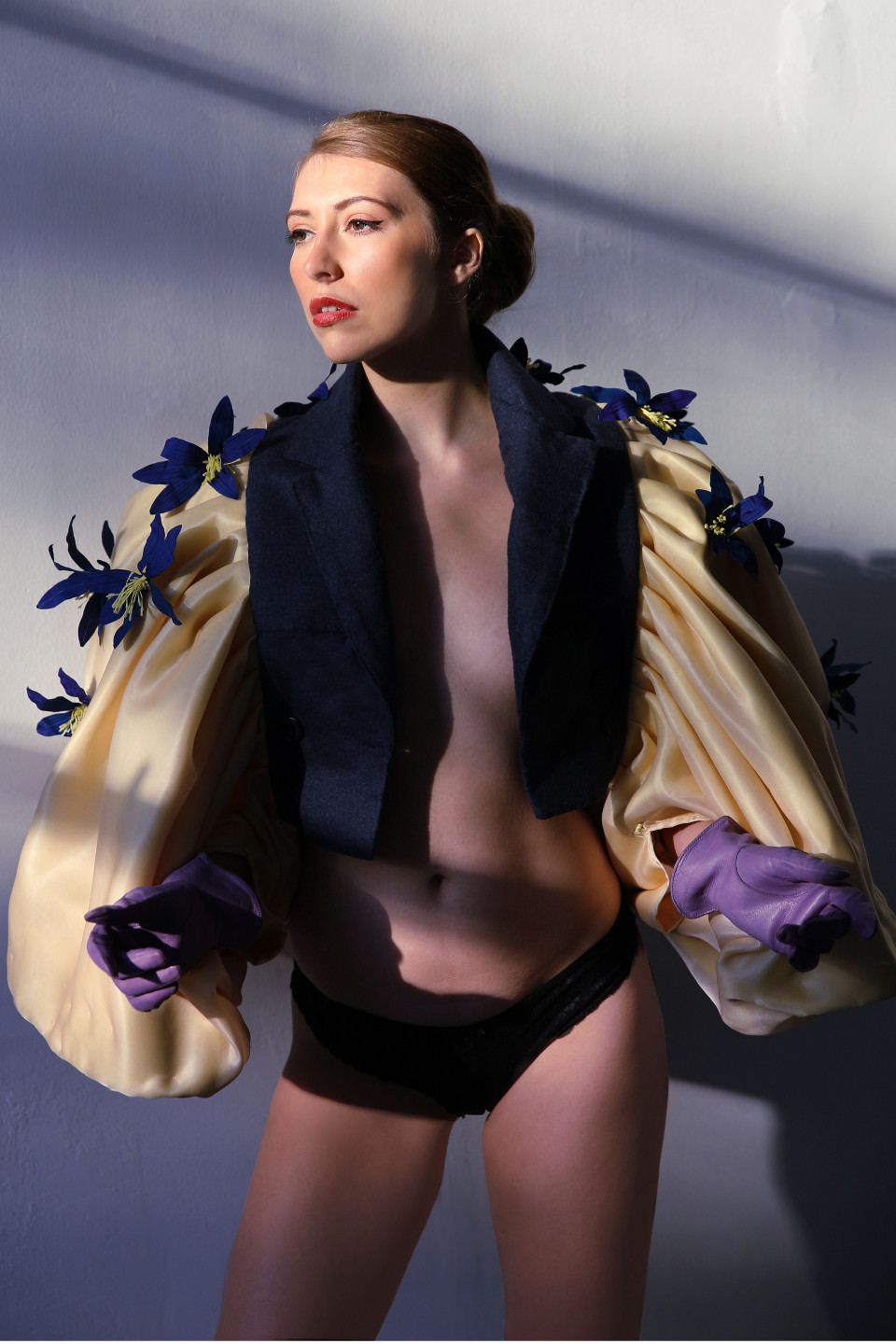 blue lily yellow notch lapel short tailored jacket, opera outfit