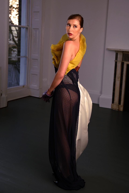 tigh exposed silk long dress, grician drape couture dress catwalk, event dress
