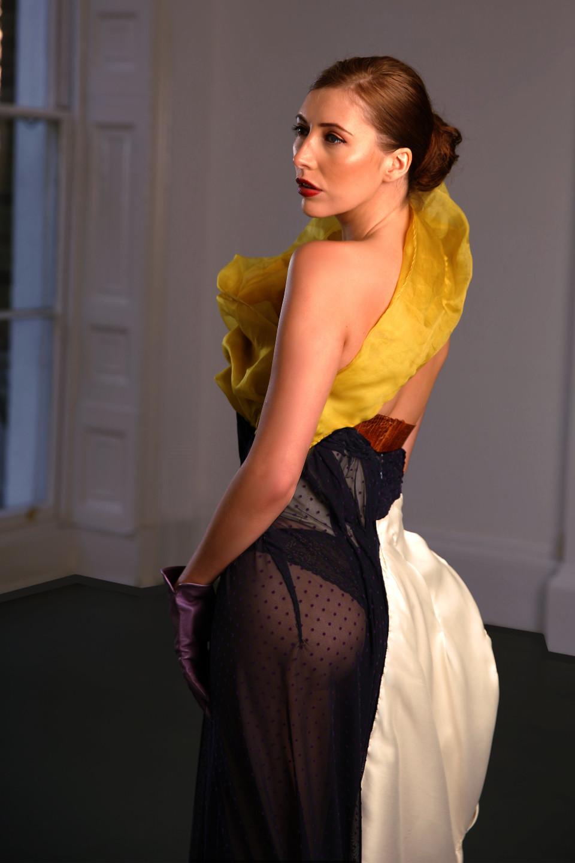 tigh exposed silk long dress, griacian drape couture dress catwalk, event dress angelo fair couture