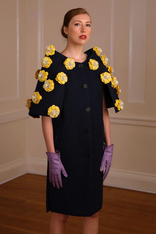 dark Blue tweed coat with yellow applique flowers - purple gloves