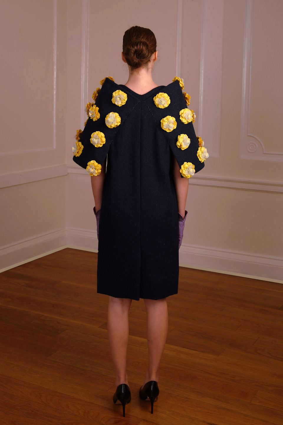 dark Blue tweed coat with yellow applique flowers - chic outfit couture london