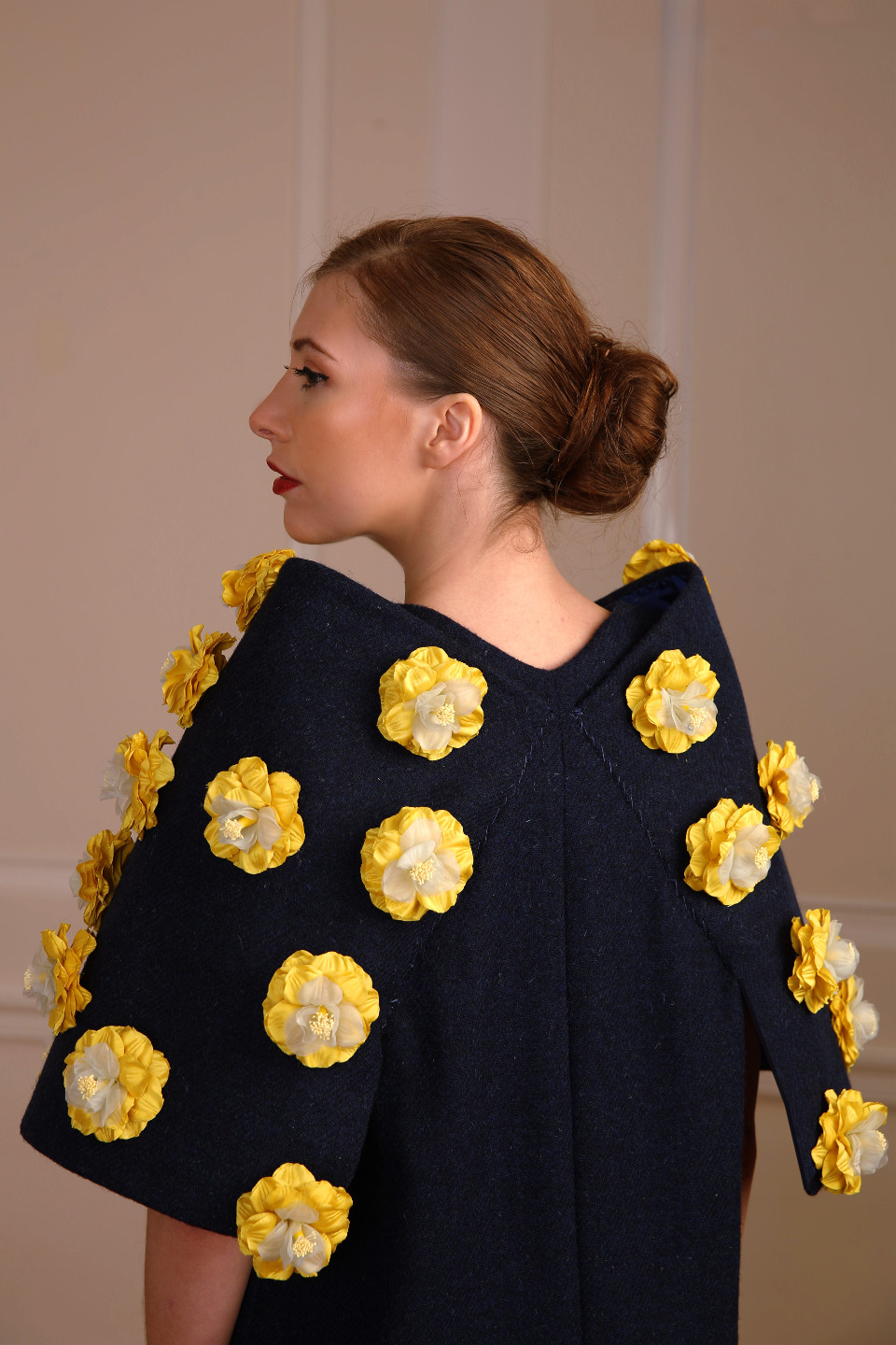 Blue tweed dress coat with yellow applique flowers - chic outfit couture design angelo fair couture designer london