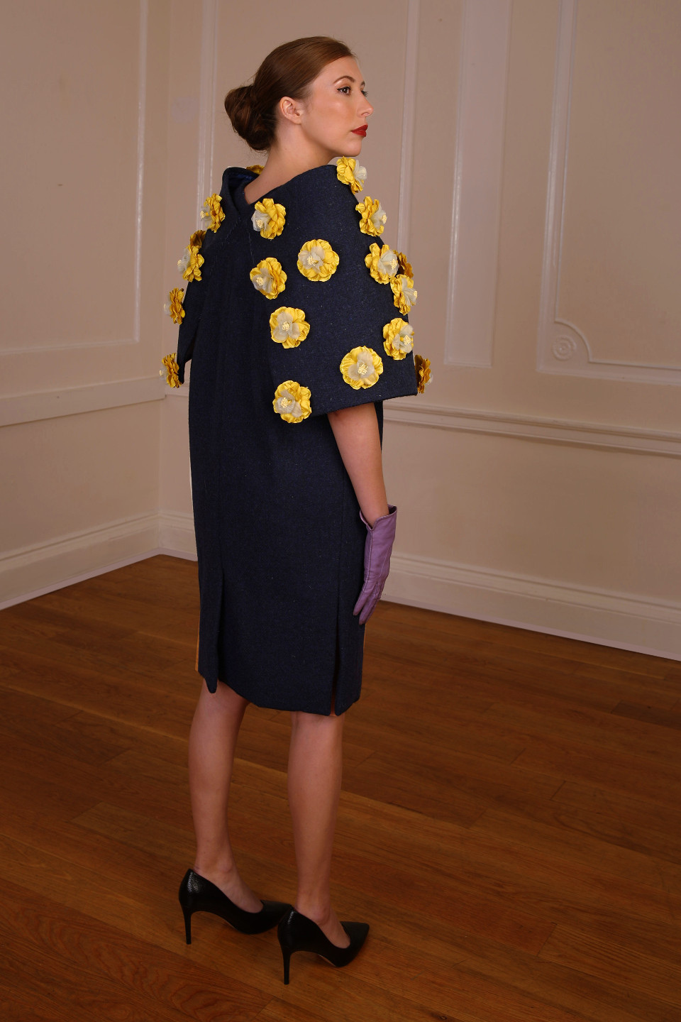 Blue tweed dress coat with yellow applique flowers - chic outfit couture design angelo fair designer london