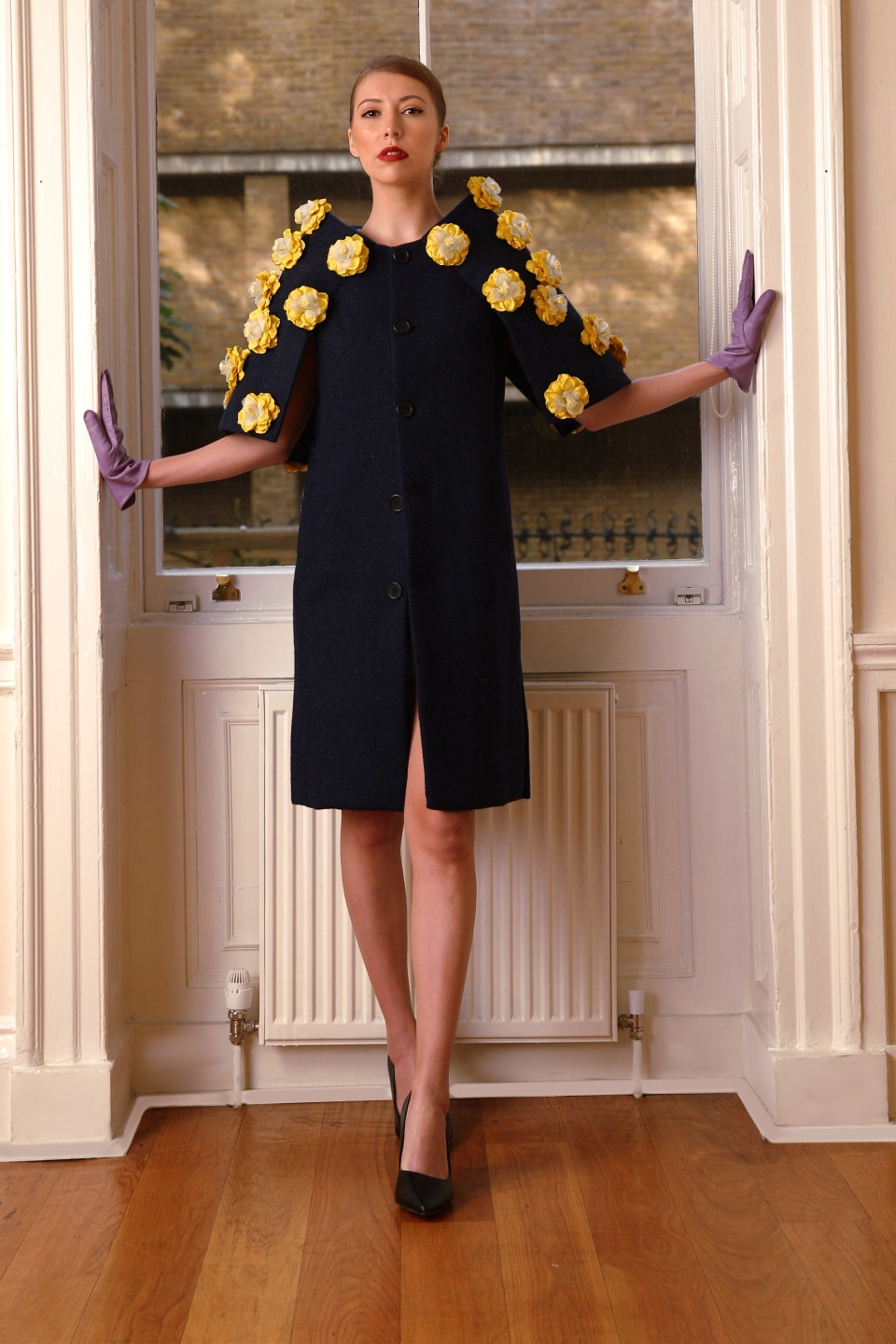 Blue tweed dress coat with yellow applique flowers - opera outfit couture design angelo fair