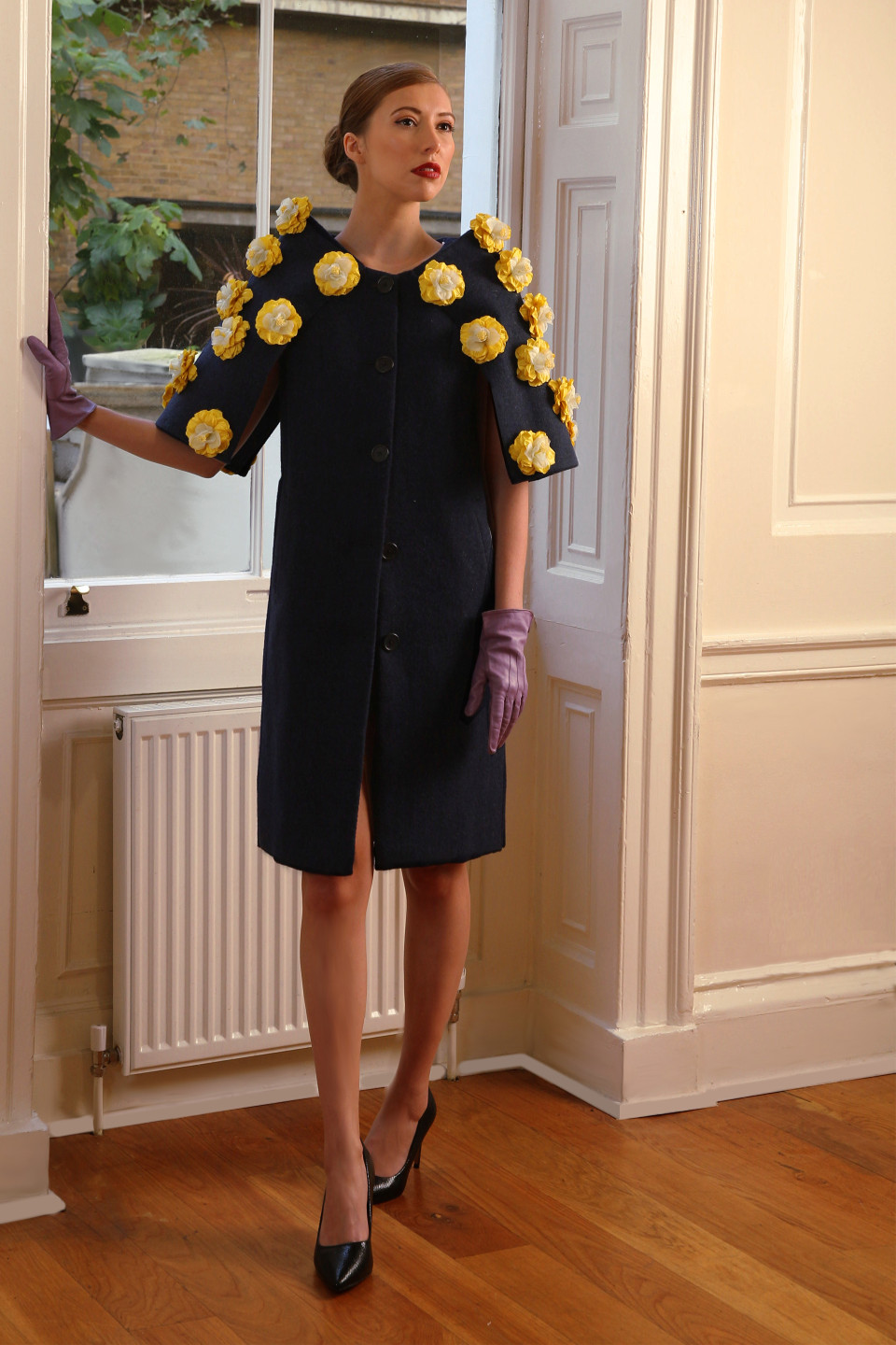 Blue tweed dress coat with yellow applique flowers - wedding outfit couture design