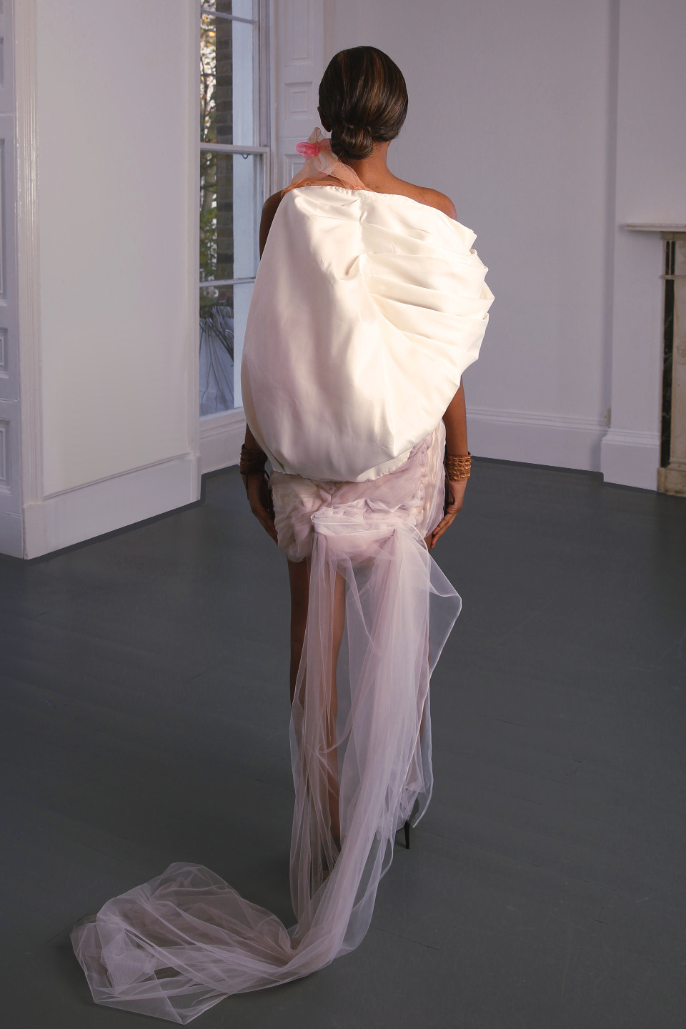 White couture dress pink flowers angelo fair london atelier